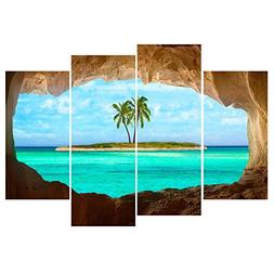 GEVES Unframed 4 Pcs Beautiful Ocean Island Through the Cave