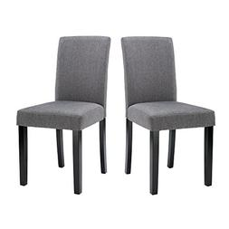 LSSBOUGHT Set of 2 Urban Style Fabric Dining Chairs With Sol