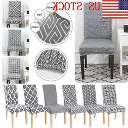 US Gray Printing Pattern Dining Room Chair Cover Removable S