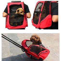 US SHIP 2in1 Pet Carrier Dog Cat Rolling Trolley Bag Backpac