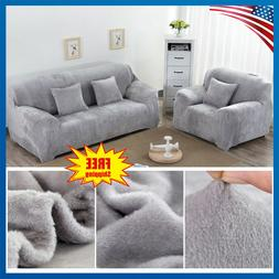 Velvet Stretch Chair Sofa Love Seat Covers 1 2 3 Seater Couc
