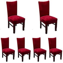 Smiry Velvet Stretch Dining Room Chair Covers Soft Removable