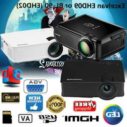 7000 Lumens FHD 1080P 3D LED LCD Projector Multimedia Home T