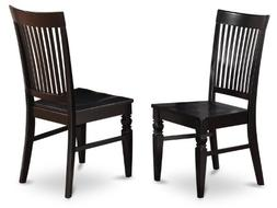 East West Furniture WEC-BLK-W Wood Seat Dining Chair Set wit