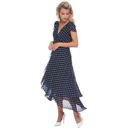 ABS Collection Womens Navy Overlay Pattern Polka Dot Midi Wr