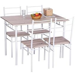 Merax 5 Pcs Wood and Metal Dining Set Table and 4 Chairs Hom