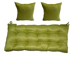 Woven Twill Mojo Kiwi Green Tufted Cushion for Bench, Swing,